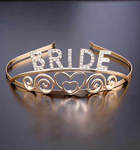 DaXi Bridal Tiaras Bridal Shower Crowns Wedding Headbands with Rhinestone (Gold) -
