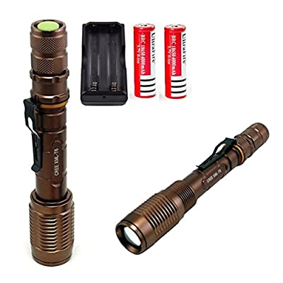 1Pc Outstanding Popular 5-Mode LED Flashlight 3000LM Zoomable Torch 18650 Rechargeable Tactical Light Color Bronze with Battery Charger