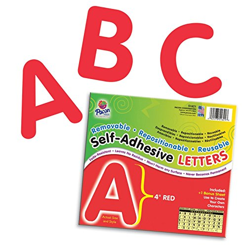 Pacon PAC51621BN Self-Adhesive Letters, Red, Puffy Font, 4