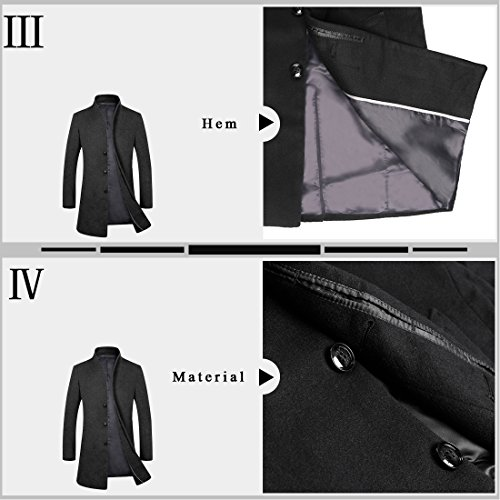 APTRO Men's Wool French Front Slim Fit Long Business Coat 1681 DZDY Black M by APTRO (Image #4)