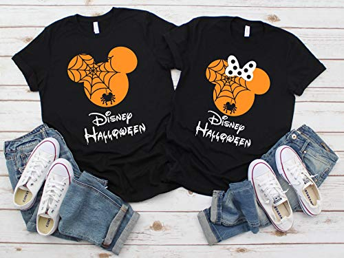 Disney Halloween T-Shirts Matching Vacation Apparel Shirts for Family Men Women Boys Girls Baby Spiderweb Mickey Minnie Ears Orange -