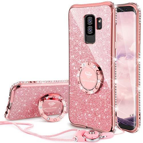 Galaxy S9 Plus Case, Glitter Bling Diamond Rhinestone Bumper Cute Galaxy S9 Plus Phone Case for Girls with Ring Kickstand Protective Samsung Galaxy S9 Plus Case for Girl Women - Rose Gold [ Pink ]