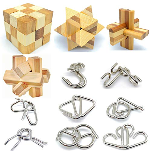 Qiandier Bamboo 3D Puzzle Metal Brain Teasers Puzzles Mind Game Toys Set for Teens and Adults Pack of 12pcs -