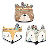 luvel (M1) - Set of 3 cute, colorful Indian animal heads in 3D-EFFECT 18,5 x 18,5 cm as wall tattoo Children's room and children's room decoration - 10mm plastic