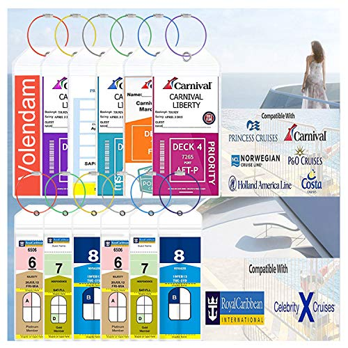 Cruise Tags 12 Pack Both Sizes (Wide and Narrow) Luggage Etag Holders Zip Seal Steel Loops