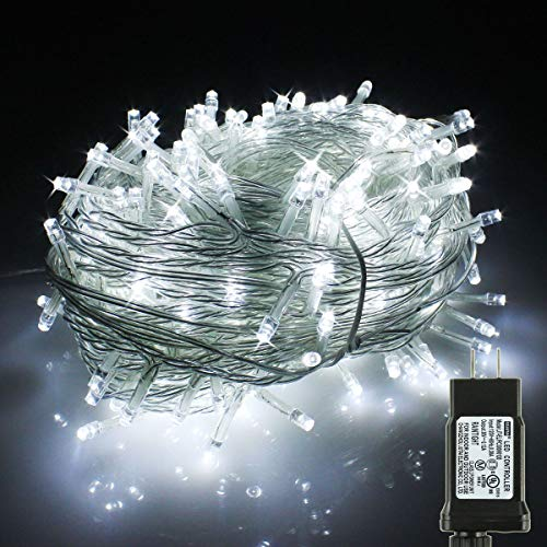 PMS 173Ft 500 LED Christmas Lights, Clear Cable LED Fairy String Lights with 8 Light Modes, Low Voltage Output Ideal for Christmas Tree Home Garden Party Wedding Indoor and Outdoor (Day White) (Cool Christmas Really Lights)