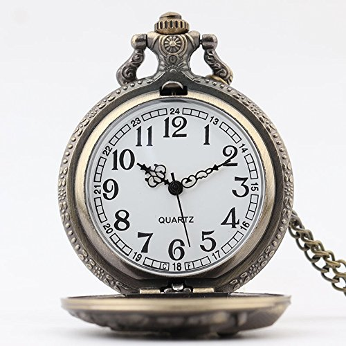 Shirleyle Vintage Bronze Quartz Pocket Watch With Chain Christmas Wedding Gift For Women Men by Shirleyle (Image #2)