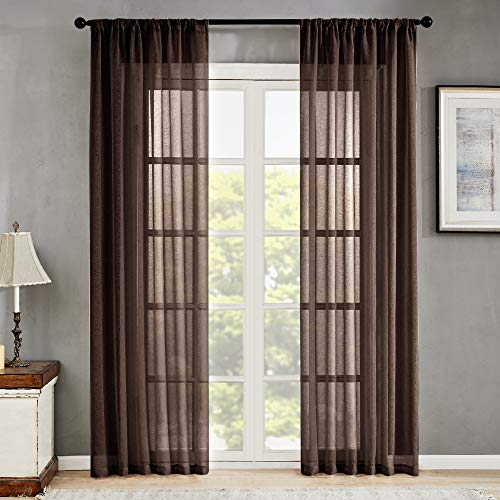 MRTREES Sheer Curtains Brown Curtain Panels 84 inches Long Living Room Bedroom Drapes Curtain Sheers Voile Rod Pocket Window Treatment 2 Panels (Sheer Curtains Brown)