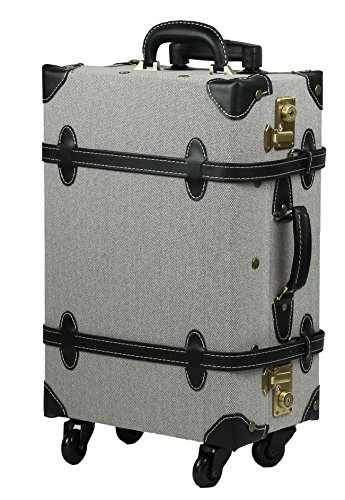 MOIERG Vintage Trolley Luggage suitcase 2tone Cotton Gray Medium (81-55046-12) by MOIERG (Image #1)