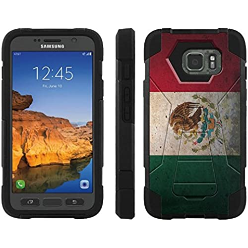 AT&T [Galaxy S7 Active] ShockProof Case [ArmorXtreme] [Black/Black] Hybrid Defender [Kickstand] - [Mexico Flag] for Samsung Galaxy [S7 Active] Sales