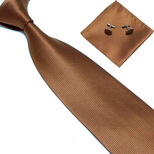 Brown Square Neck (Stylefad Men's Solid Plaid Wide Neck Tie Set Hanky Cufflink Brown)
