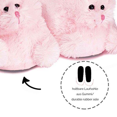 funslippers®, lustige Hasen Hausschuhe Tiere Tierhausschuhe Erwachsene und Kinder Schadstoffgeprüft** Hasen Hausschuhe Plüsch Bunny Kaninchen rosa mit Gummisohle …