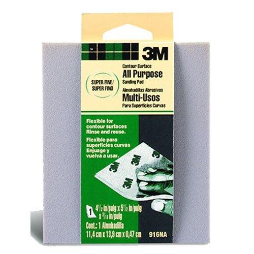 3M Contour Surface Sanding Sponge, Super Fine, 4.5-Inch by 5.5-Inch by .1875-Inch (Sanding Sponge Fine)