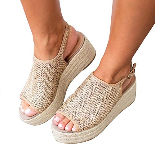 Blivener Espadrille Wedge Sandals Casual Summer Peep Toe Slingback Platform Sandals Shoes BEIGE41 (9.5)