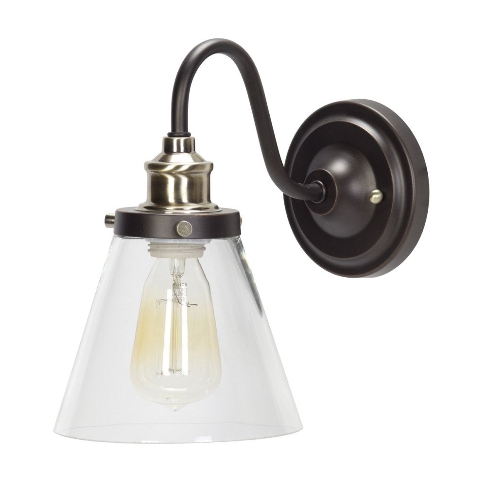 Globe Electric Jackson 1-Light Rustic Wall Sconce, Oil Rubbed Bronze & Antique Brass Finish, Clear Glass Shade, 64932 by Globe Electric