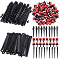 Elcoho 150 Pieces Drip Irrigation System Kits Adjustable Irrigation Drippers Support Stakes Drip Sprinklers Emitters for Vegetable Gardens or Flower Beds