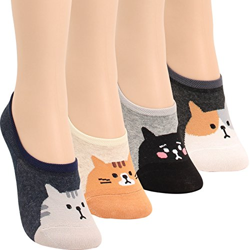 WOWFOOT Women Animal No-Show Casual Liner Socks Non Slip Flat Boat For Girl (4pair-cute face - Very Thin Face