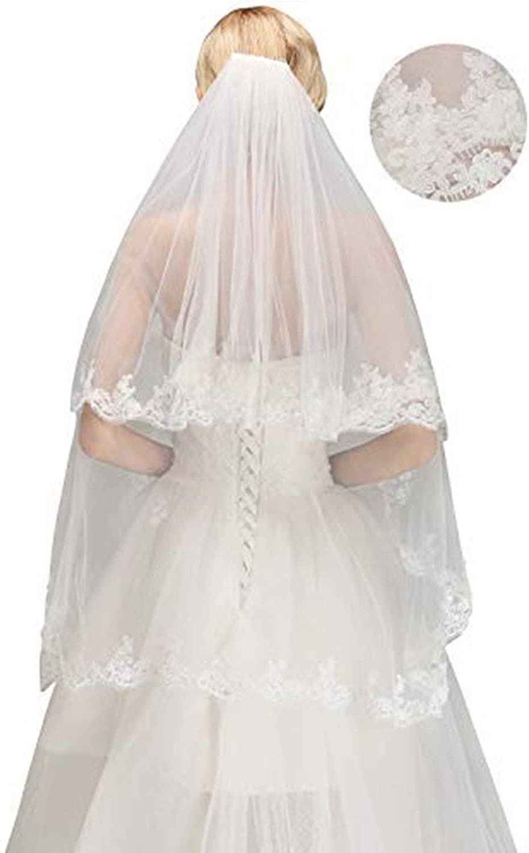 LUOEM Hochzeit Brautschleier Lange 2 Schichten mit Kamm