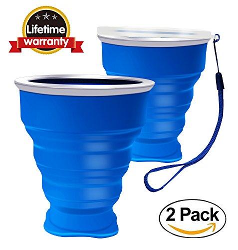 2 pcs Tazas de Silicona Plegable, Copa de viaje plegable, 230 ml Grado de comida Copa plegable de Taza de café Portable del viaje Para senderismo Cámping Deportes al aire libre Tapa caliente incluida 2