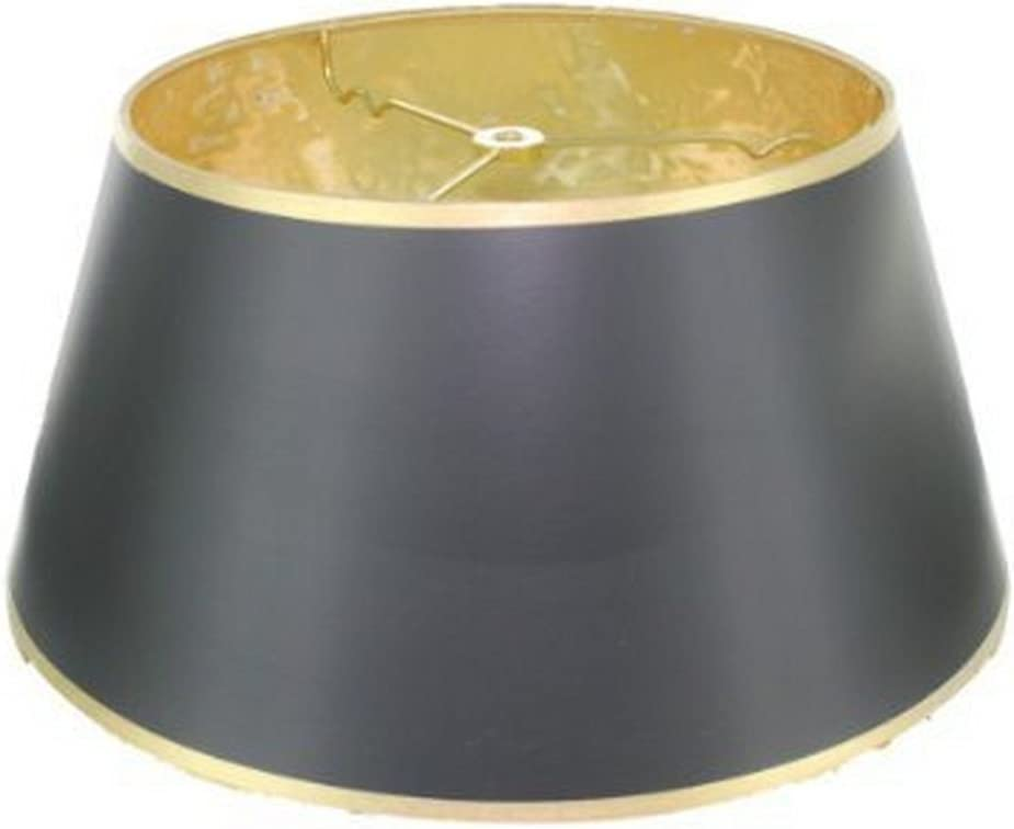 Upgradelights 14 Black with Gold Bouillotte Lamp Shade in a Glossy Black Parchment