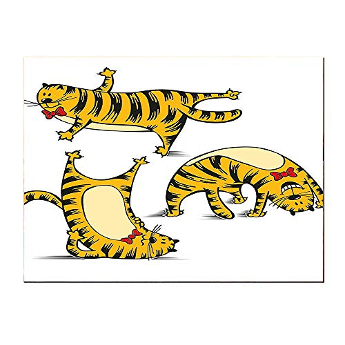 SATVSHOP Small mural-16Lx16W-Cartoon Funny Fat Cute Cat Dancing Around Doing Exercise Sports Artwork Image Black ed and Marigold.Self-Adhesive backplane/Detachable Modern Decorative Art.