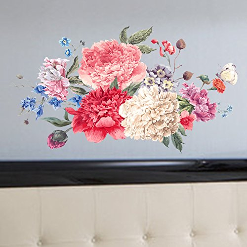 23x38inch Large Nursry Multicolor Flowers Wall Decals Removable Garden Flower Wall Sticker 3D Peel Stick art Decor Wallpaper for Living Room Bedroom Bathroom Girls Rooms Offices Home Walls Decoration