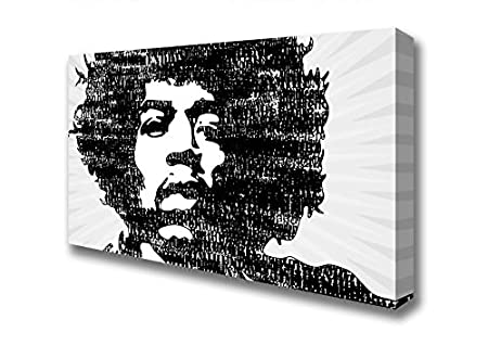 Wide jimi hendrix black and white canvas art prints large 20 x 40 inches