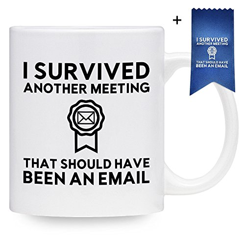 Funny Coffee Mug for Work - I Survived Another Meeting That Should Have Been An Email Mug with Matching Blue Ribbon - Gift Idea for Employee, Coworker, Boss, Friend (11 - Blog Elephant White