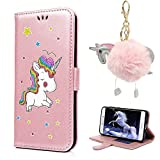 iPhone X Wallet Case, E-Unicorn Apple iPhone X Case Leather Wallet Rose Gold Unicorn Pattern Glitter Flip Cover with Card Holder 360 Full Body Protection Silicon Bumper Cover + Unicorn Plush Keychain Keyring Automotive Handbags Ornamant For Girls Ladies