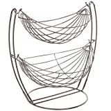 Gun Metal Double Hammock 2 Tier Fruit / Vegetables / Produce Metal Basket Rack Display Stand - MyGift