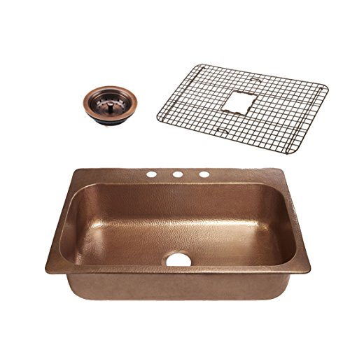 - Sinkology SK101-33AC-WG-B Angelico 3-Hole Kitchen Sink, 33