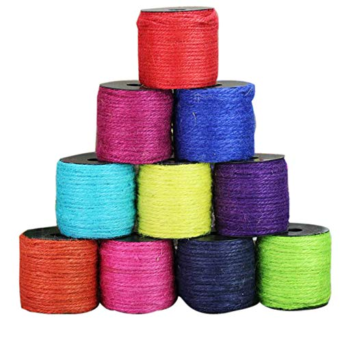 50M 3mm 3-Strand Jute Twine String Rope Hemp Rope Jute Cord Colored Macrame Jewelry Spool Stringing Twine Jute Package Twine for DIY and Crafts, Gift Wrapping,Wedding Party Decoration - Hemp Twine 6 Strand