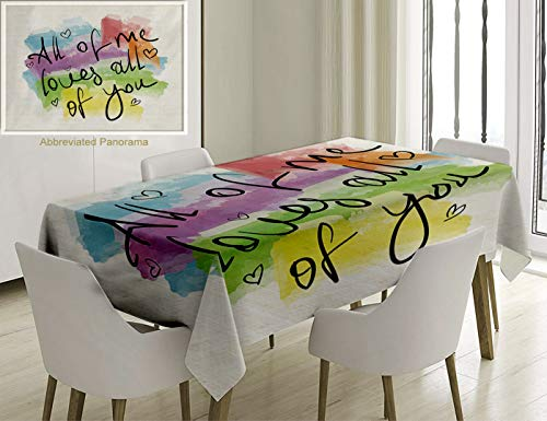 Nalagoo Unique Custom Cotton and Linen Blend Tablecloth All of Me Loves All of You Romantic Love Quote Note As Greeting Card Postcard Poster StickerTablecovers for Rectangle Tables, 60 x 40 inches