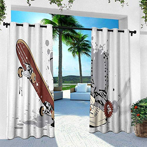 Teen Room, for Front Porch Covered Patio Gazebo Dock Beach Home, Skateboard with Boy Feet in The Sneakers and Jeans Illustration, W84 x L96 Inch, Grey Cream Chestnut Brown ()