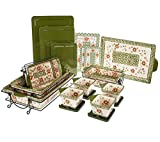 Temp-tations Old World 22-piece Oven-to-Table Set Stoneware Bakeware (Old World Poinsettia)