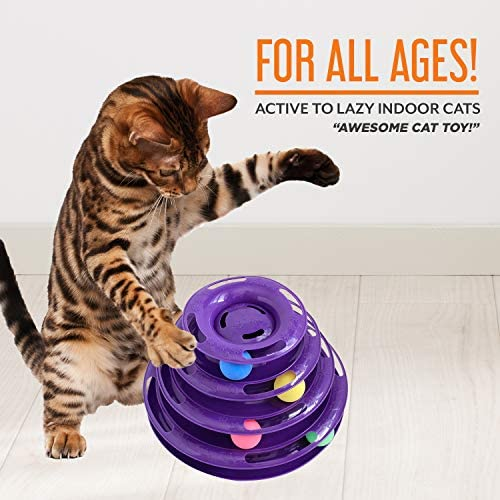 Purrfect Feline Titan's Tower - New Safer Bar Design, Interactive Cat Ball Toy, Exerciser Game, Teaser, Anti-Slip, Active Healthy Lifestyle, Suitable for Multiple Cats 7