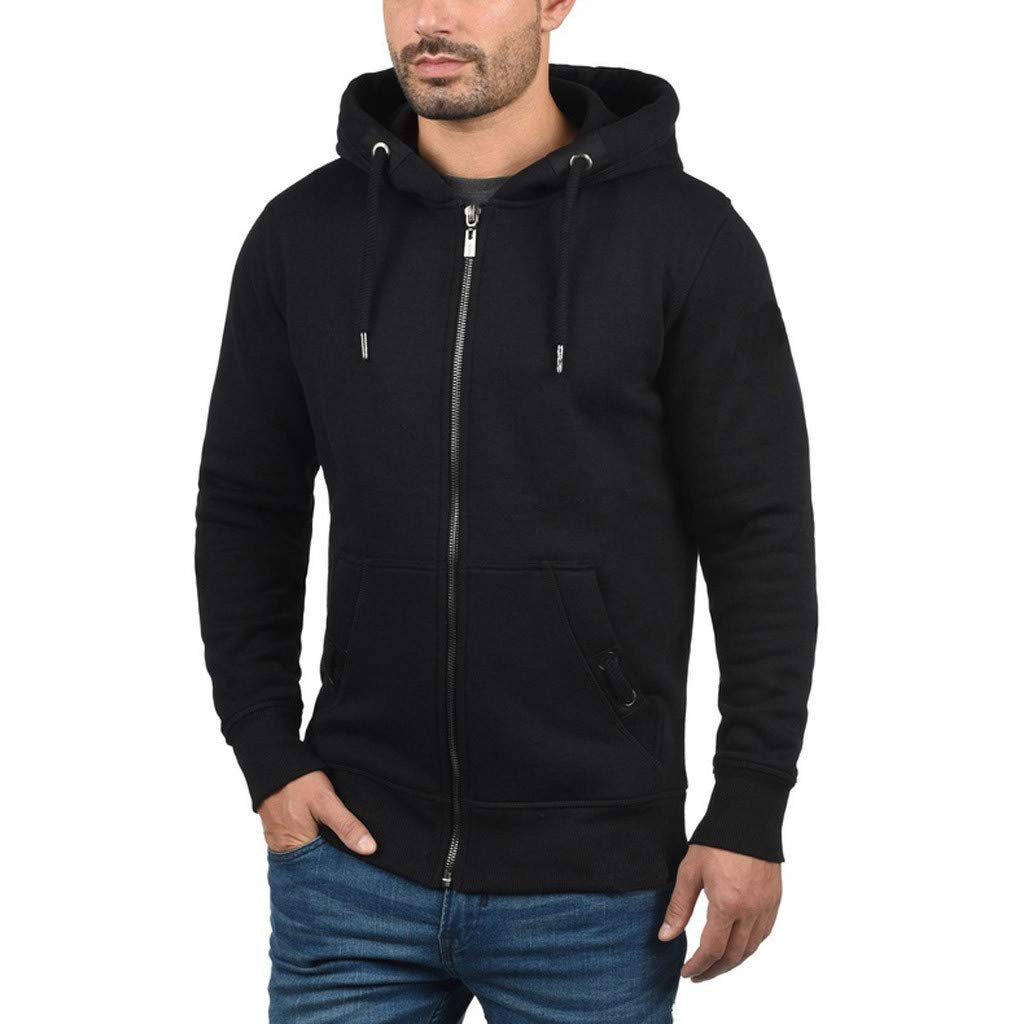 HebeTop Hoodies for Men Lightweight Fitted Heather French Terry Full Zip Hoodie Hooded Sweatshirt Black by ▶HebeTop◄➟HOT SALES
