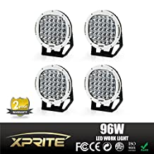 Xprite 96 Watt 9-inch Cree LED Fog Spotlight and Round Work Lamp with Roof Bar Bumper (White, 4-Pack)