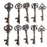 Yansanido Pack of 100 Skeleton Key Bottle Opener with Escort Tag Card and Twine for Wedding Favors for Guests Party Favors (100pcs mixed 5 styles)