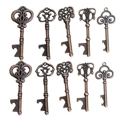 Yansanido Pack of 100 Skeleton Key Bottle Opener with Escort Tag Card and Twine for Wedding Favors for Guests Party Favors (100pcs mixed 5 styles) ()