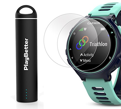 Garmin Forerunner 735XT (Frost Blue, Run-Bundle) Power Bundle | Includes HRM-Run Chest Strap, HD Glass Screen Protectors (x2) & PlayBetter Portable Charger | Multisport GPS Running Watch by PlayBetter (Image #6)