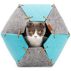 Fieltro Cueva Gato, Plegable Multifuncional Cama Gato Suave ...