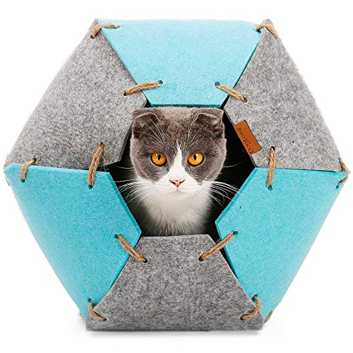 Enclosed Felt Cat Cave Bed Pet House Felted Hideout Hide Hideaway Indoor Cute Funny Soft Cozy Perch Cushion Nest Tunnel Burrow Self Warming Covered Medium Kitty Playing Foldable 2 in 1 Gray & Blue (Hide Away Pets Cat)