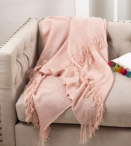 """Fennco Styles Classic Solid Throw Blanket With Tassels - 50"""""""