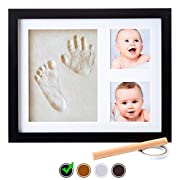 Baby Handprint Kit by Little Hippo |DELUXE SIZE + NO MOLD| Baby Picture Frame & Non Toxic CLAY! Baby Footprint kit, Perfect for Baby Boy gifts, and Baby Girls Gifts! (Black, Standard)