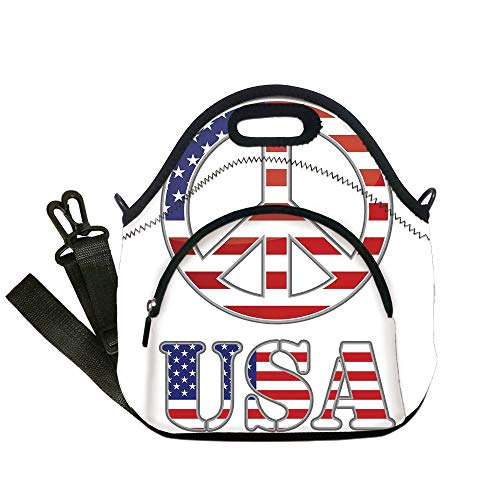 Insulated Lunch Bag,Neoprene Lunch Tote Bags,Groovy,Modern Peace Sign USA Flag Color Design Hippie Freedom No War Symbol Theme Decorative,Violet Blue White,for Adults and children