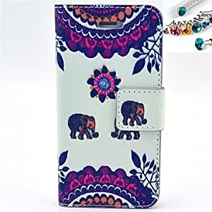 ZXC Elephant Pattern PU Leather Full Body Case with Card Slot and Stand for iPhone 5/5S