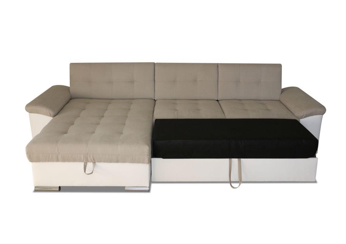 Polstermöbel Aquilino mit Staukasten und Bettfunktion – Abmessungen: 295 x 168 cm (L x B) - Ottomane: Links
