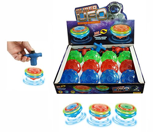 12-Pack LED Light Up Flashing UFO Spinning Tops with Gyroscope Novelty Bulk Toys Party Favors