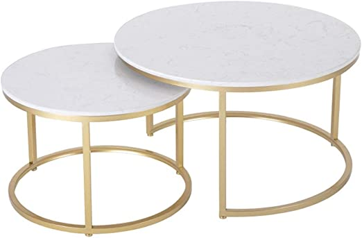 Set Of 2 Faux Marble Coffee Table Mid Century Modern Side Tables